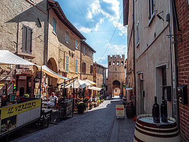 The main street in Montefalco with the entrance door at the end of it
