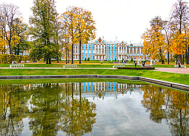 Catherine Palace as seen from the Mirror Pond, Catherine Park, Pushkin (Tsarskoye Selo), near St. Petersburg, Russia, Europe