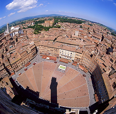 Aerial view of the Piazza del Campo and the town of Siena, Tuscany, Italy