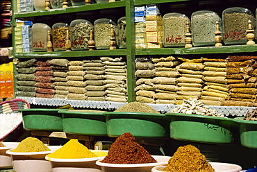 Close-up of spices for sale in a shop in Luxor, Egypt, North Africa, Africa