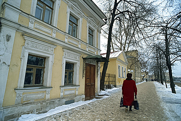 Old houses and woman on the Ring Road, Moscow, Russia, Europe