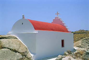 Small old church with red roof on Mykonos, Cyclades Islands, Greek Islands, Greece, Europe