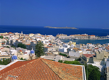 Aerial view over the town and harbour of Ermoupoli, Syros (Siros), Cyclades, Greek Islands, Greece, Eurpoe