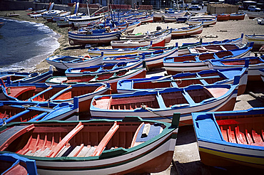 Small fishing boats, Aspra, Sicily, Italy, Europe