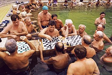 Chess players, Szechenyi Baths, Budapest, Hungary, Europe