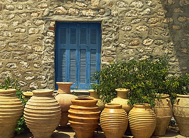 Greek urns, Hydra, Argo Saronic Islands, Greek Islands, Greece, Europe