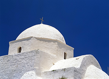 Close-up of white dome of the church of St. Anthony, the Chora, on Folegandros, Cyclades, Greek Islands, Greece, Europe
