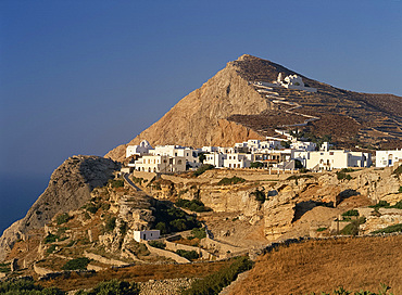 Terraces, The Chora village and zigzag path up to church on hillside on Folegandros, Cyclades, Greek Islands, Greece, Europe