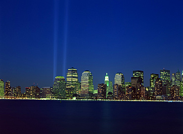 Lower Manhattan skyline and World Trade Center memorial lights, New York City, United States of America, North America