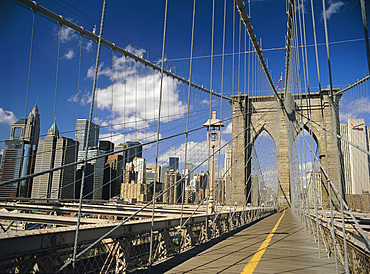 The Manhattan skyline from the Brooklyn Bridge, post Sept 11, New York City, New York State, USA, North America