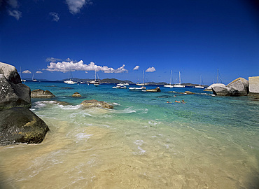 Swimmers and yachts at The Baths, Virgin Gorda, British Virgin Islands, West Indies, Caribbean, Central America