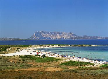 L'Isuledda Beach and Isola Tavolara, northeast coast, island of Sardinia, Italy, Mediterranean, Europe