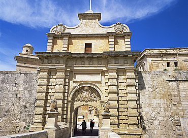 The main gate of the ancient city of Mdina, Malta, Europe