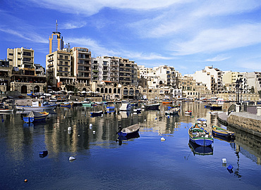 The harbour at St. Julian's Bay, Malta, Mediterranean, Europe