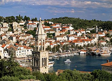 Elevated view of Hvar Town, island of Hvar, Dalmatia, Croatia, Europe