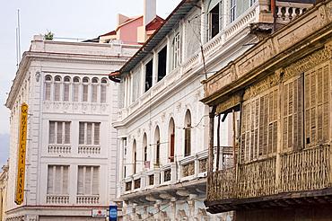 A collection of old buildings including the Casa Granda Hotel in central Santiago de Cuba, Cuba, West Indies, Central America