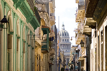 A view of the Capitolio seen through the streets of Habana Viejo (old town), Havana, Cuba, West Indies, Central America