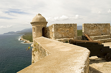 A triangular lunette at the Castillo del Morro, a fortess at the entrance to the Bay of Santiago, UNESCO World Heritage Site, 10 km southwest of Santiago de Cuba, Cuba, West Indies, Central America
