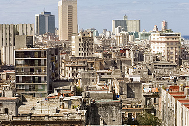An aerial view of central Havana from the roof of the Park Central Hotel, Havana, Cuba, West Indies, Central America