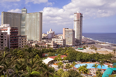 A view of the Havana skyline including the Habana Libre Hotel taken from the Nacional Hotel, Havana, Cuba, West Indies, Central America