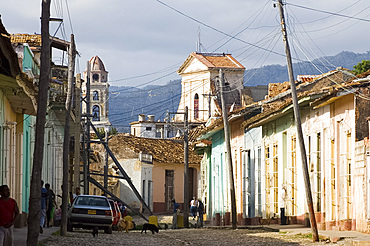 A cobblestone street in Trinidad, UNESCO World Heritage Site, Cuba, West Indies, Central America