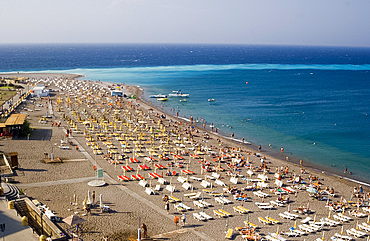 Aerial view over Elli Beach and Ammos point, Rhodes Town, Rhodes, Dodecanese, Greek Islands, Greece, Europe