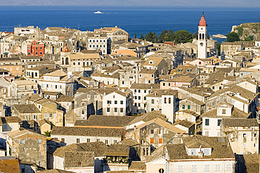 Aerial view of Corfu Old Town and St. Spyridonas belltower from the New Fort, Corfu, Ionian Islands, Greek Islands, Greece, Europe