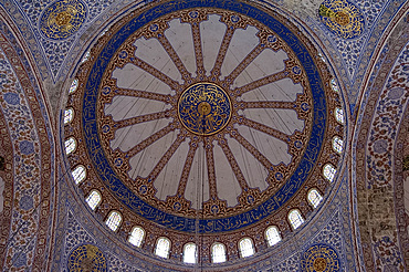 An interior view of an elaborately decorated dome in the Blue Mosque (Sultan Ahmet mosque), Istanbul, Turkey, Europe, Eurasia