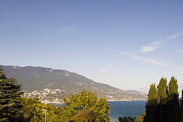 A view over the Black Sea from the garden at the Livadia Palace, Yalta, Crimea, Ukraine, Europe