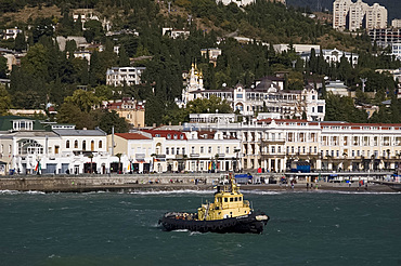 A view of Yalta from the ship, Yalta, Crimea, Ukraine, Europe