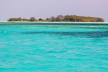Clear blue sea and Mnemba Island near Zanzibar, Tanzania, East Africa, Africa