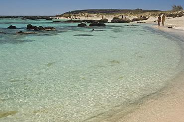 White sand and emerald sea at Elafonisi in western Crete, Greek Islands, Greece, Europe
