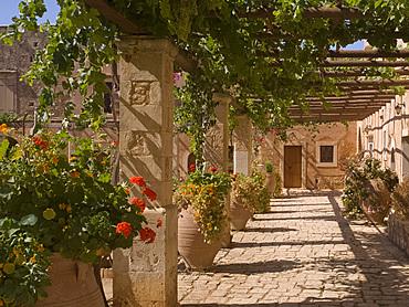 Flowers in the cloister at Arkadhi Monastery (Moni Arkadhi), twenty-five miles from Rethymnon, Crete, Greek Islands, Greece, Europe
