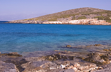 A view out to sea from the island of Spinalonga near Elounda, Crete, Greek Islands, Greece, Europe