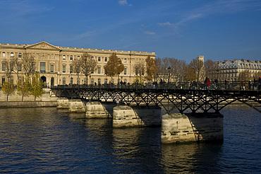 The Pont des Arts, a pedestrian bridge across the River Seine, Paris, France, Europe