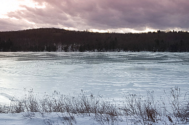 A frozen lake in winter, Lake Myosotis in Rensselaerville, New York State, United States of America, North America