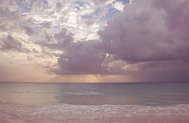Storm Clouds over the sea at Pink Sands Beach, Harbour Island, The Bahamas, West Indies, Central America