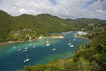 An aerial view of Marigot Bay on the east coast of St. Lucia, Windward Islands, West Indies, Caribbean, Central America