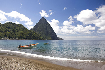 A view of the Pitons near Soufriere in St. Lucia, Windward Islands, West Indies, Caribbean, Central America