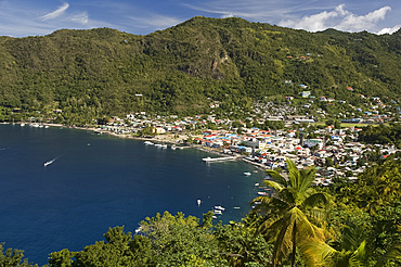 An aerial view of the town of Soufriere in St. Lucia, Windward Islands, West Indies, Caribbean, Central America