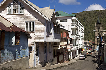 West Indian architecture in the town of Soufriere, St. Lucia, Windward Islands, West Indies, Caribbean, Central America