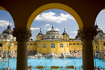 The Szechenyi Baths on a summer day in Budapest, Hungary, Europe