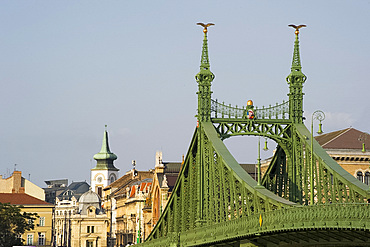 A view of Liberty Bridge and the Pest side, Budapest, Hungary, Europe