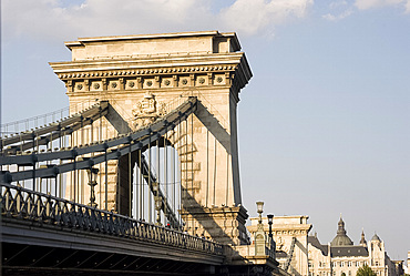 A close-up of the Chain Bridge, Budapest, Hungary, Europe