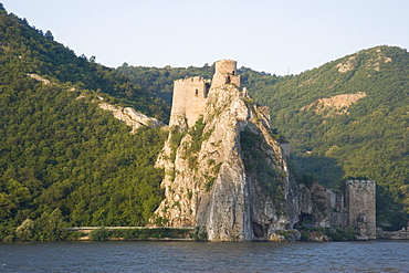 The ruins of Golubac Castle in the Iron Gates region of the Danube River, Serbia, Europe