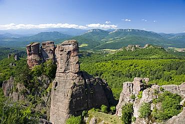The towering sandstone pillars at Belogradchik Fortress, Bulgaria, Europe