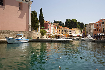 The colourful harbour in Veli Losinj, island of Losinj in the Kvarner region, Croatia, Adriatic, Europe