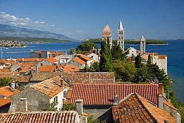 Terracotta rooftops and medieval bell towers in Rab Town, island of Rab, Kvarner region, Croatia, Europe