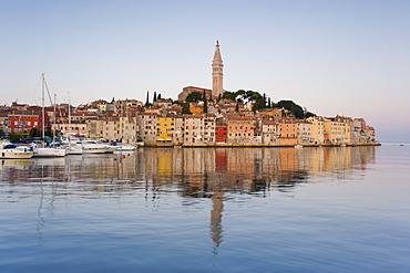 The Cathedral of St. Euphemia and Venetian style buildings in Rovinj at sunrise, Istria, Croatia, Adriatic, Europe