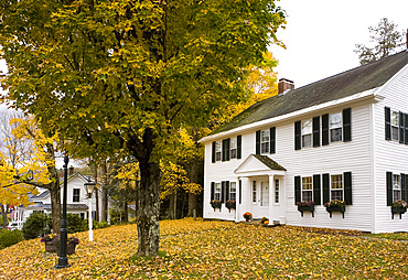 An old house surrounded by autumn leaves in Grafton, Vermont, New England, United States of America, North America